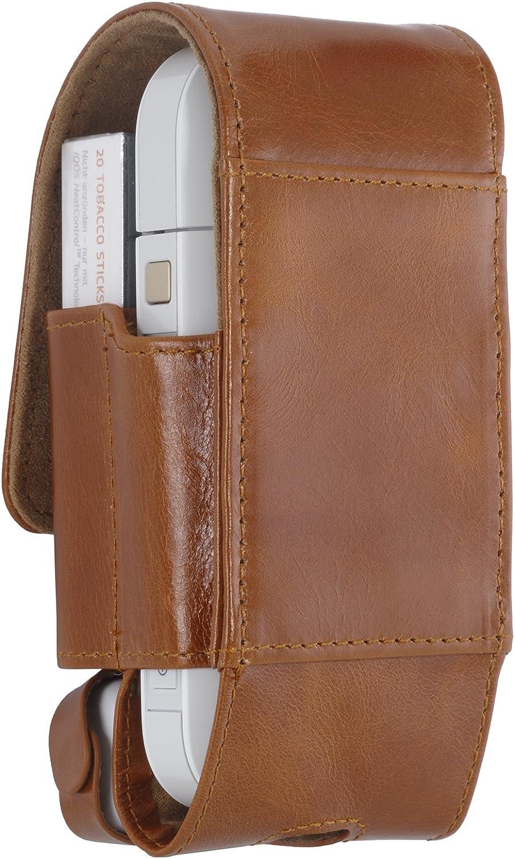 Cognac StilGut Zigarettenetui case kompatibel mit IQOS aus Leder f/ür elektronischen Zigaretten