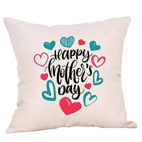 XuanhaFU Funda de cojín con Feliz Dia de la Madre Patrón ...