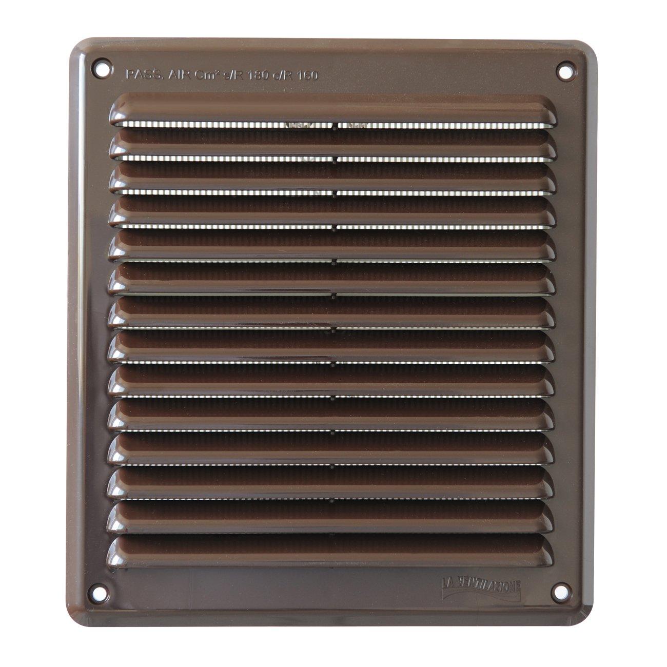 Marrone La Ventilazione AR2023M Griglia di Ventilazione in Plastica Rettangolare da Sovrapporre 204x230 mm