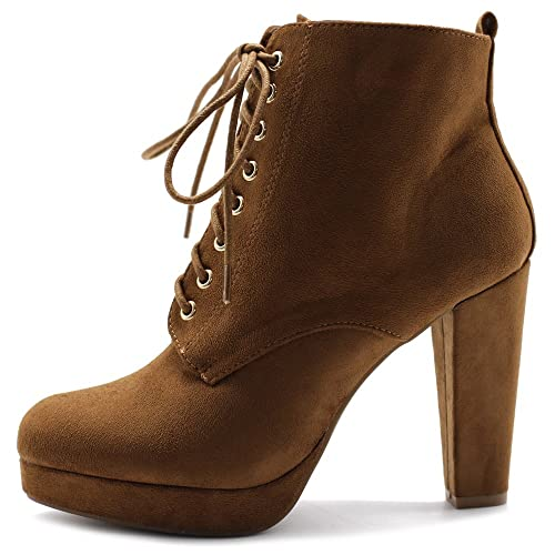 c8c613c984fb9 Ollio Women's Shoe Faux Suede Lace-up Platfrom Ankle Chunky Heel Booties