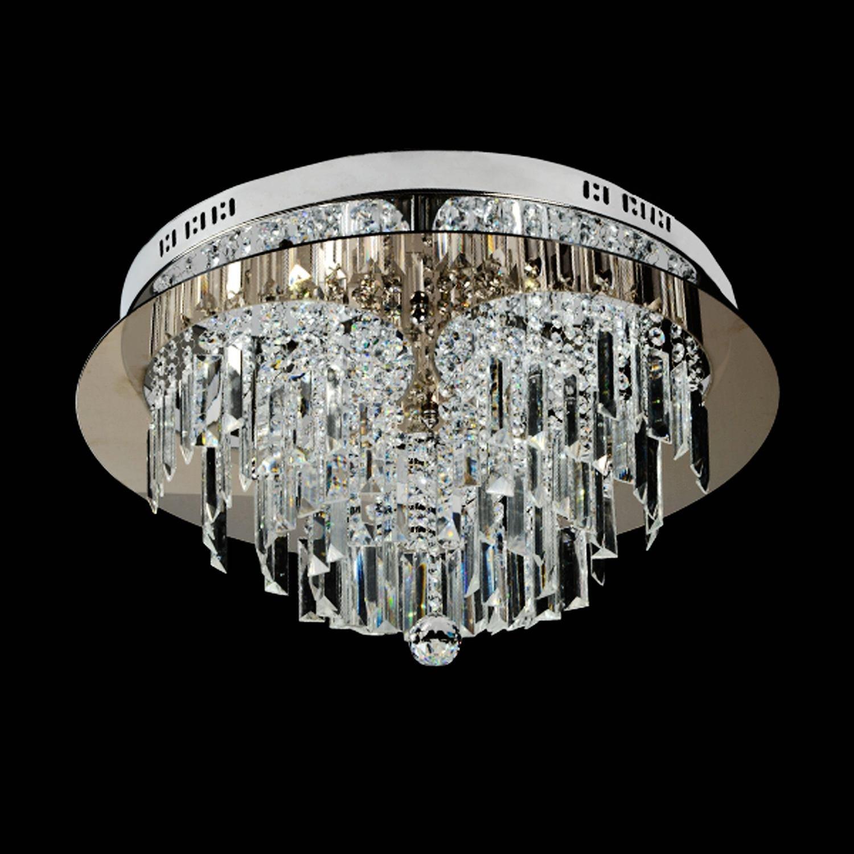 Saint Mossi® Luxus Modern Große Klare Glas Kristall Kronleuchter Kronleuchter Kronleuchter Flush Mount Regen Drop Deckenleuchte in Chrome Finish Runde Form 830951