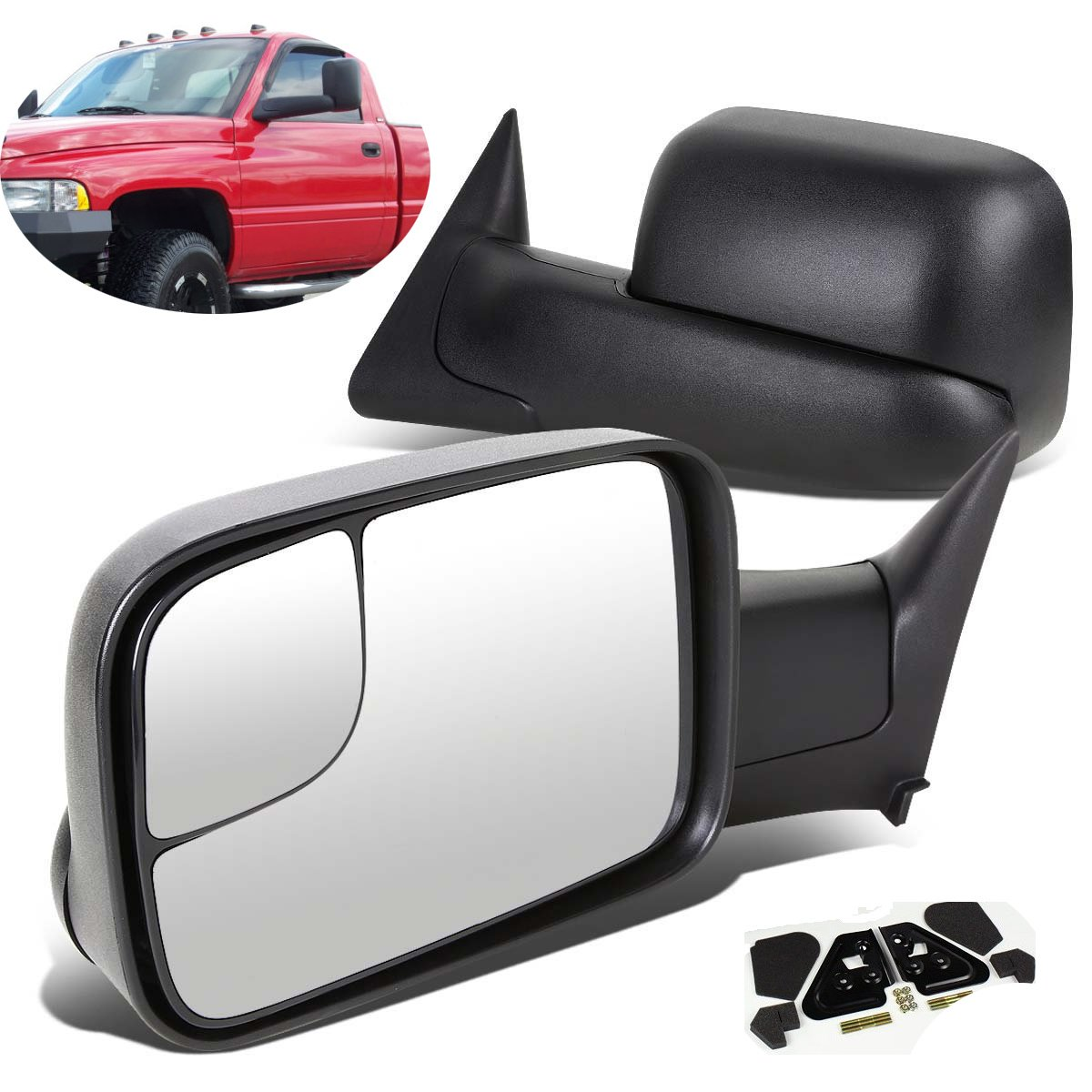 SCITOO Driver and Passenger Manual Side Tow Mirrors 7x10 Flip-Up with Mounting Brackets Replacement fit Dodge Pickup Truck 55156335AD 55156334AD by SCITOO