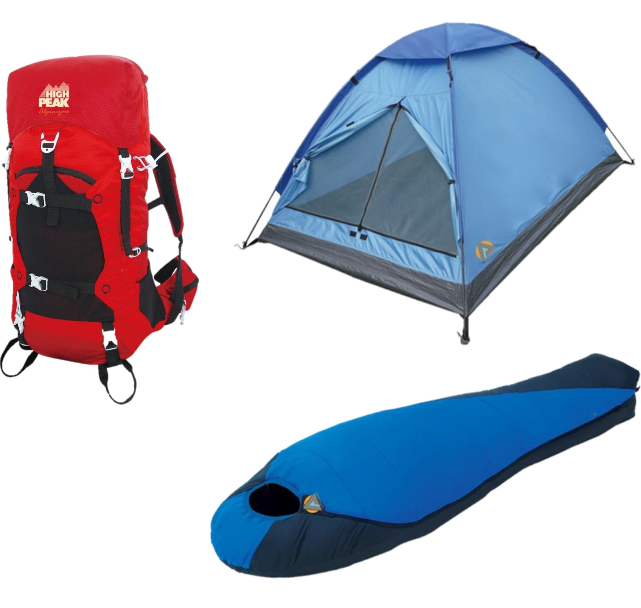 High Peak USA Alpinizmo Extreme Pak 0F Sleeping Bag 3 Men Tent & 40 Liter Hiking Pack, Red/Blue, One Size by Alpinizmo