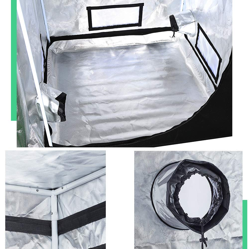 AIKI 40''x40''x80'' Reflective Mylar Hydroponic Grow Tent with Observation Window and Waterproof Floor Tray for Indoor Plant Growing 3x3 by AIKI (Image #6)