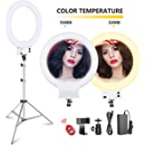 3 Color 32CM Table Ring Light with Remote Control LEEaccessory LED Ring Light Tripod Kit Selfie Ring Light Set Bluetooth Receiver 11 Levels for Make-Up Video Recording