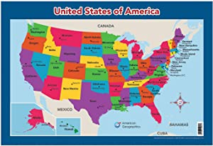 """USA Map for Kids - United States Wall/Desk Map (18"""" x 26"""" Laminated)"""