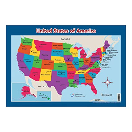 USA Map for Kids - United States Wall/Desk Map (18\