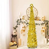 6ft Christmas Tinsel Tree, Christmas Decorations Indoor, Pop up Christmas Tree with Stand Easy-Assembly, Big Xmas Decor…