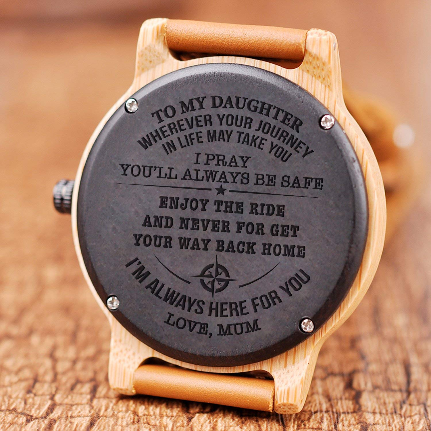 to My Daughter - Wherever Your Journey in Life May take You - Wood Watch for Woman - Natural Wooden Groomsmen Watch for Daughter Natural Ebony Customized Wood Watch Birthday Anniversary Gift by Staripy