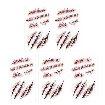 SpringPear 5X Etiqueta Engomada Temporal del Horror Tatuaje con ...