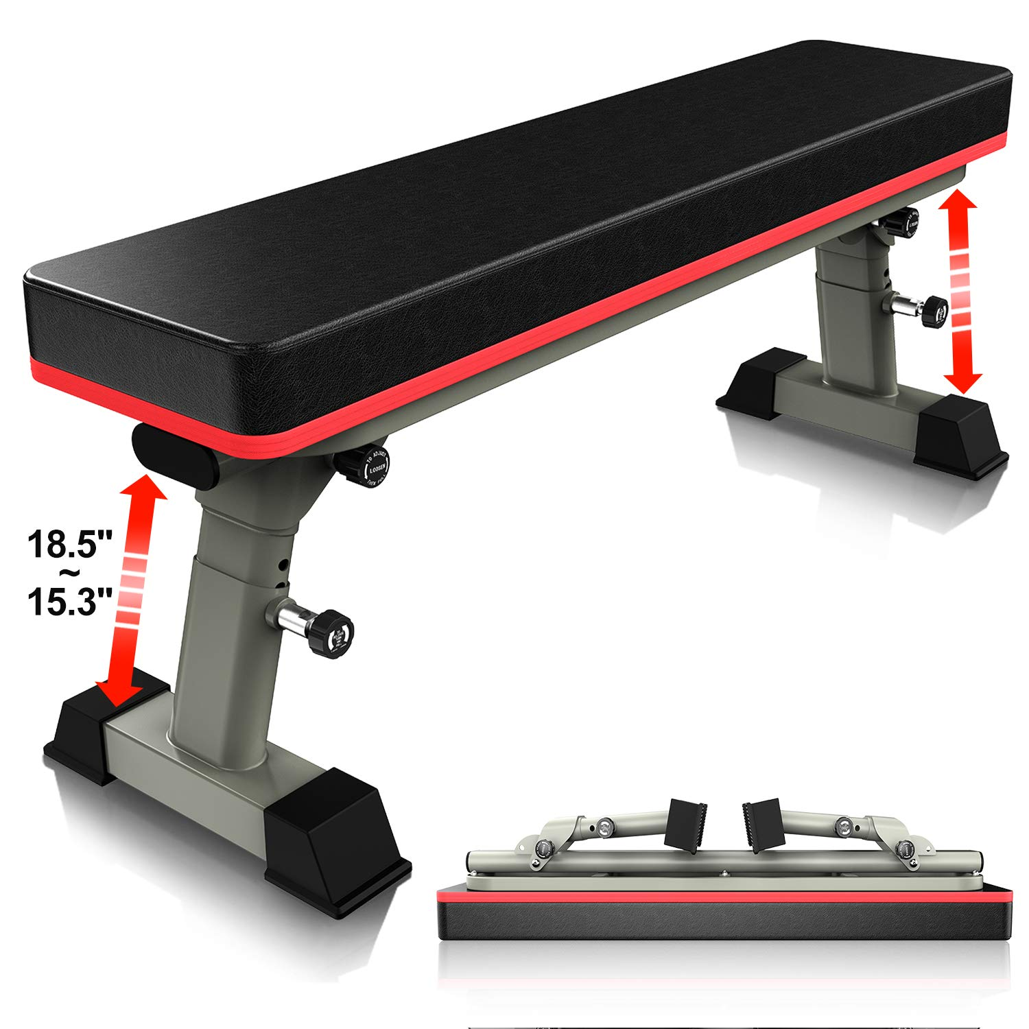 YouTen Adjustable Flat Weight Bench for Body Workout Fitness, 5Positions Abs Exercise Weight Bench with Steel Frame Gray by YouTen