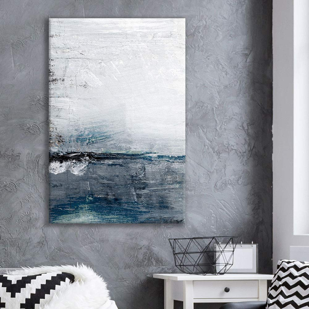 NWT Canvas Wall Art Abstract Beautiful Soft Wave Sea Horizon Landscape – 32×48 inches