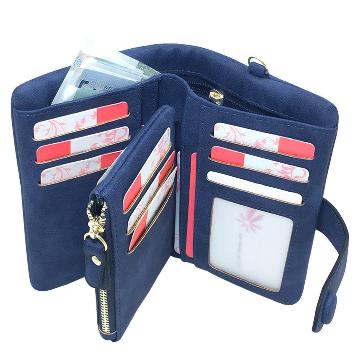RFID Leather Wallet for women Ladies Wristlet Clutch Large Capacity Zipper Purse Card Holder Organizer