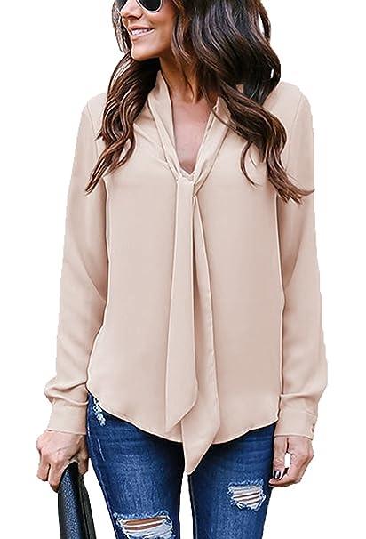 Minetom Signora OL Chiffon Camicia Donna Elegante Maniche Lunghe Bluse  Maglia Casual Shirt Sexy V Scollo Tops Primavera Estate  Amazon.it   Abbigliamento e831af8dd6a