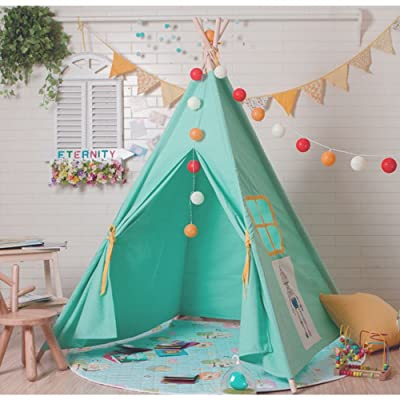 Virtper US Children Game Tent Pink and Blue Cartoon Pattern Indian Tent Four Corner Tent Indoor & Outdoor Garden Tent 160cm (Excluding Toys & Ornaments) (Color : Blue): Home & Kitchen