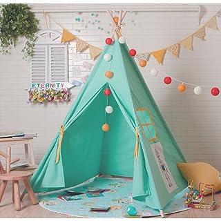 Tenda di gioco dei bambini del rosa e blu del motivo del fumetto Tenda indiana quattro tende d'angolo Tenda da giardino interna ed esterna 160cm (escluso i giocattoli ed ornamenti) ( colore : Blu )