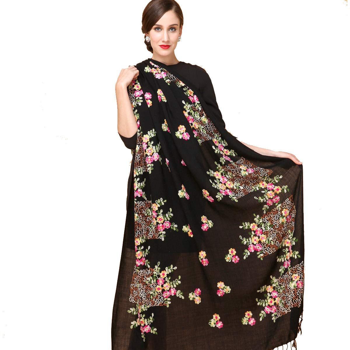 DANA XU Embroidery 100% Pure Wool Pashmina Shawls and Wraps (Black) by DANA XU