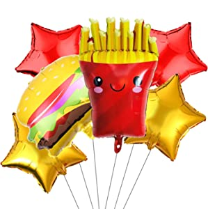 6Pcs French Fries Balloons Hamburg Balloons Food Birthday Foil Balloons for Birthday Fast Food Snacks Themed Party Decorations Supplies