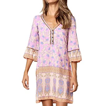 XuxMim Frauen-beiläufiger Druck-halbes Hülsen-Minikleid Princess Dress