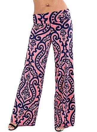 d7953ecba8f Bdcoco Women s High Fold Over Waist Wide Leg Boho Print Palazzo Pants Navy  Small