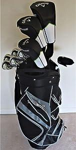 Mens Callaway Complete Golf Set - Driver, 3 Wood, Hybrid, Irons, Putter Clubs Deluxe Cart Bag Regular Flex