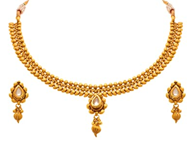 4bb19c212 Image Unavailable. Image not available for. Colour  Jfl - Jewellery For  Less Traditional Ethnic One Gram Gold Plated Designer ...