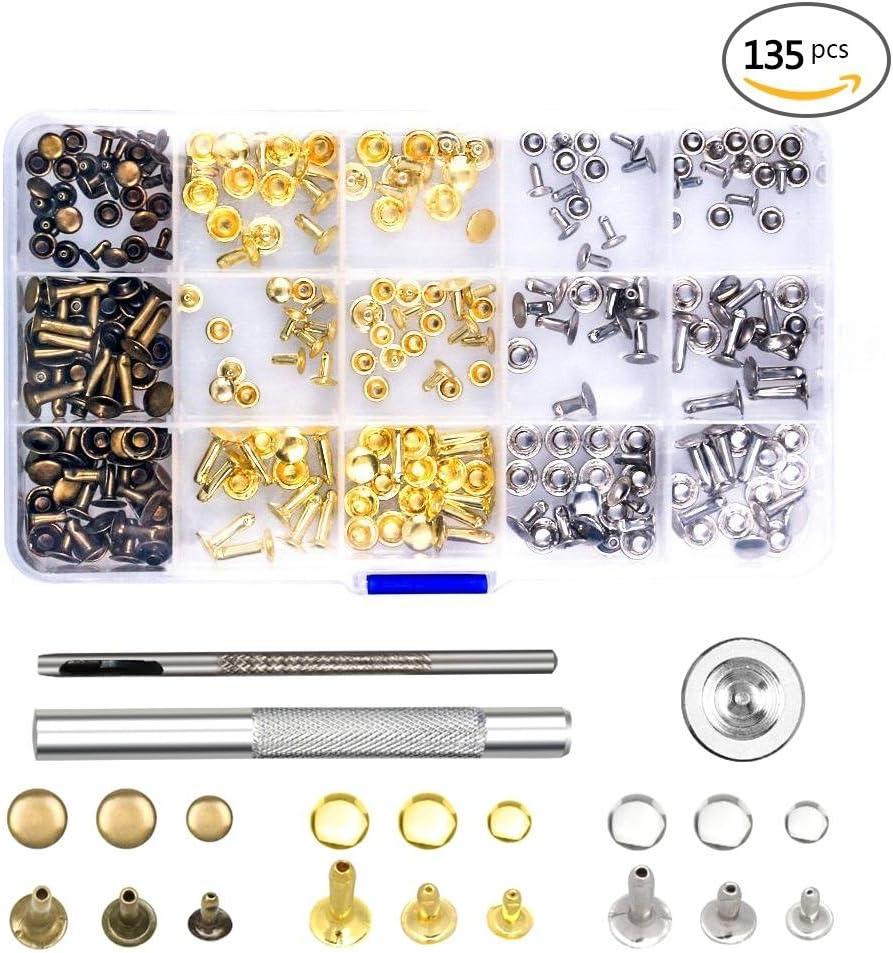 120/D/éfinit 4/couleurs 6/mm Oeillets Boucles Artisanat du cuir rivets de remplacement avec outils de montage DIY