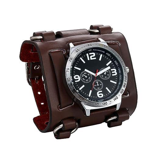 jewelrywe Reloj de Pulsera para Hombre jóvenes Pulsera Plata/Negro Pulsera de Piel Ancha marrón: Amazon.es: Relojes