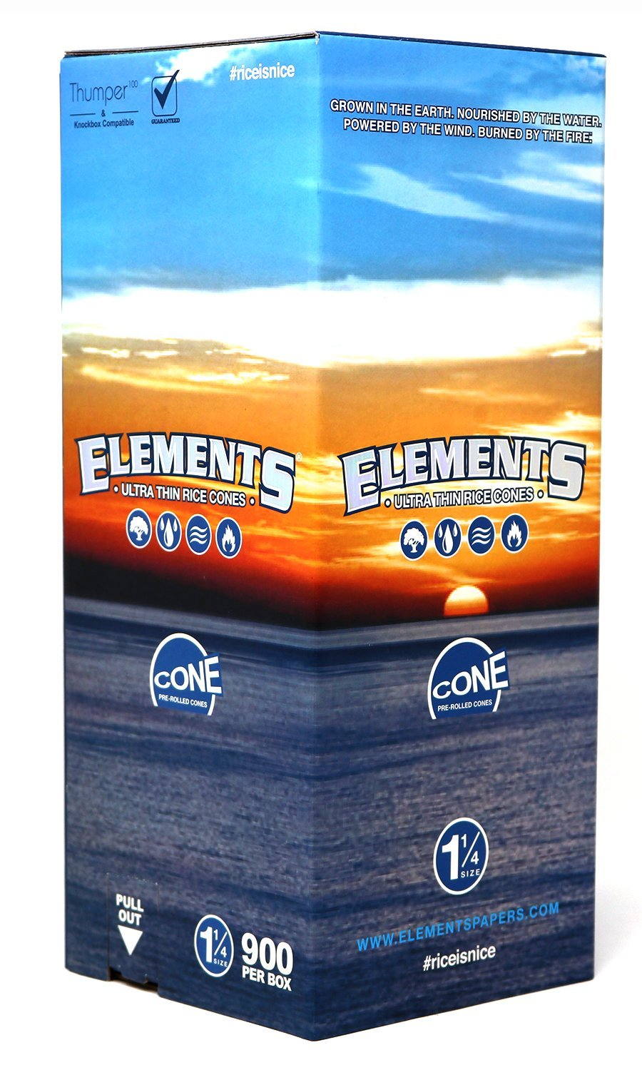 Elements 1 1/4 Rice Paper Pre-Rolled Cones (900 Pack) by Elements