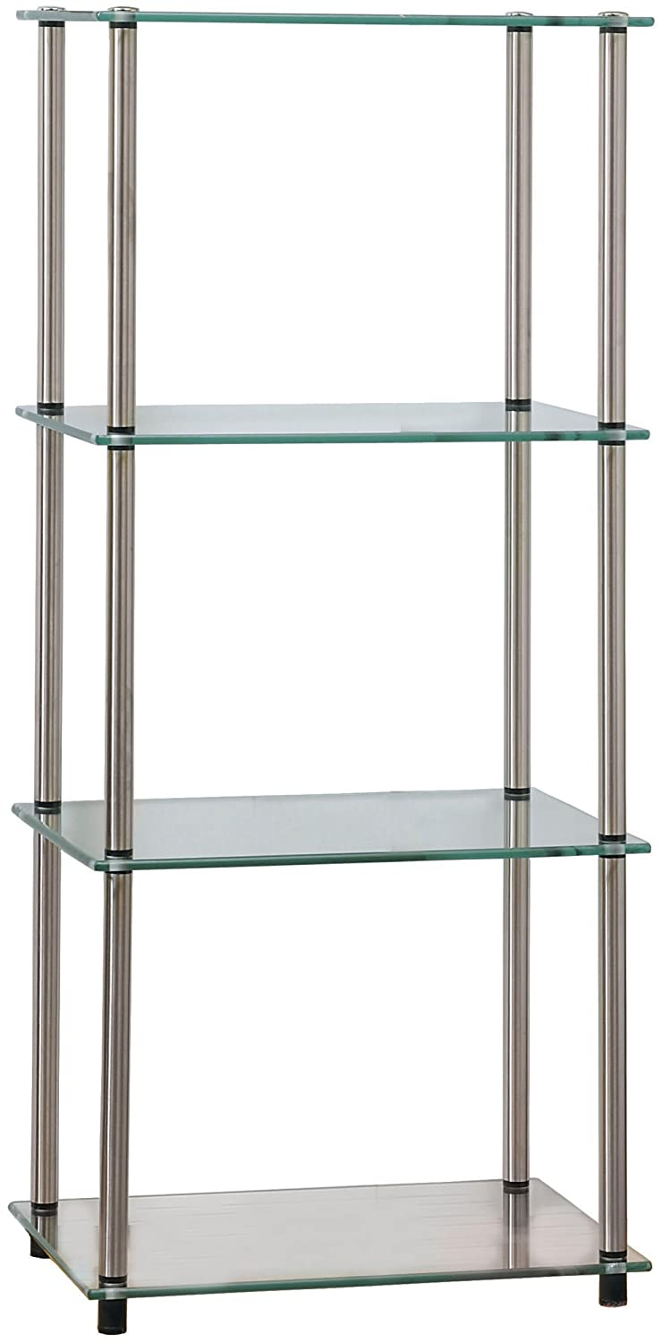 Convenience Concepts Designs2Go Go-Accsense 4-Tier Glass Tower, Clear Glass