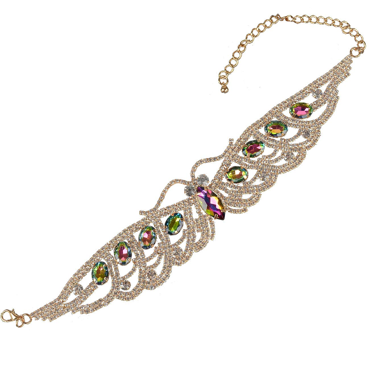 60c2bb636 Amazon.com: Holylove Novelty Choker Necklace for Women Costume Jewelry  Formal Party Daily Accessory Crystal Rhinestone Gold Chain 1pc with Gift  Box - N51 ...