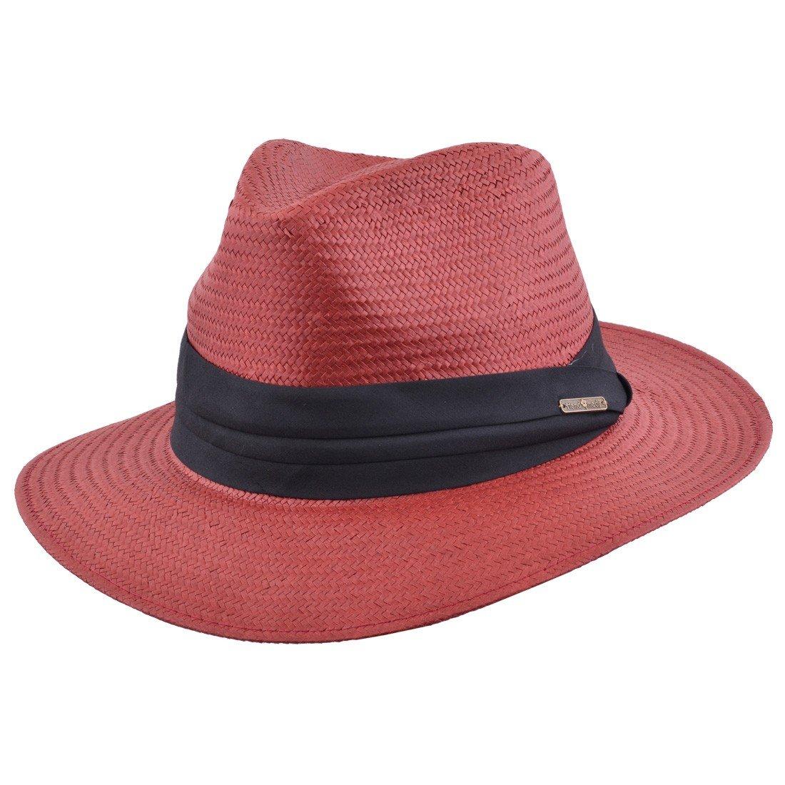 MAZ Unisex Paper Straw Crushable Foldable Summer Panama Fedora Hat with Band and Adjustable Sweatband