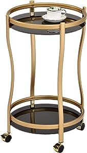 Kings Brand Furniture - Amare Serving Bar Cart Kitchen Trolley, Gold Metal & Black Glass