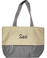 XL Beach Tote Chevron Print Weekender Bag with Mesh Webbed Handles and Outer Zippered Pocket *Can Be Personalized