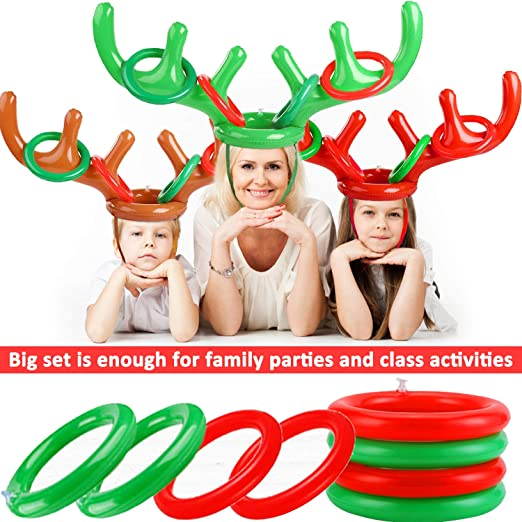 3 Pack Giant Inflatable Reindeer Antler Ring Toss Game Christmas Party Games ...