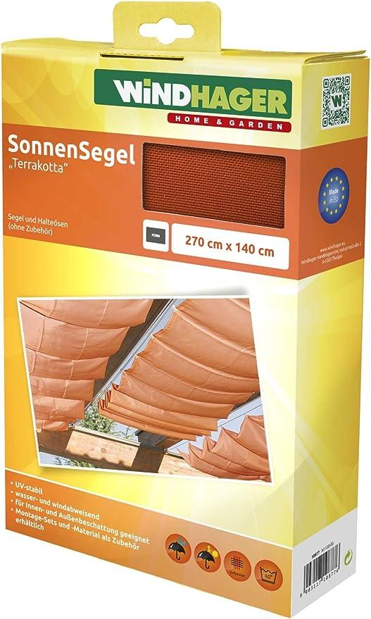 Windhager Toldo Vela de protección Solar tecnología de tensado de Cables 270 x 140 cm, Ideal para pérgola o Invernadero, Terracota, 10877: Amazon.es: Jardín