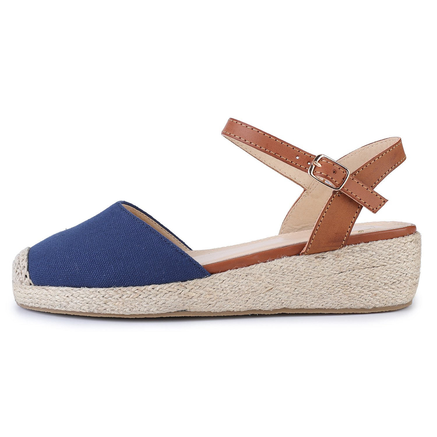 Amazon.com | Alexis Leroy Womens Closed Toe Buckle Strap Slingback Platform Espadrilles Flats Sandals | Platforms & Wedges