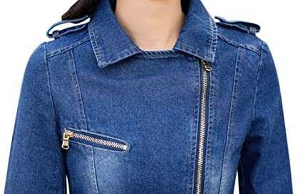 Tanming Womens Lapel Zip Up Moto Biker Denim Jean Jacket