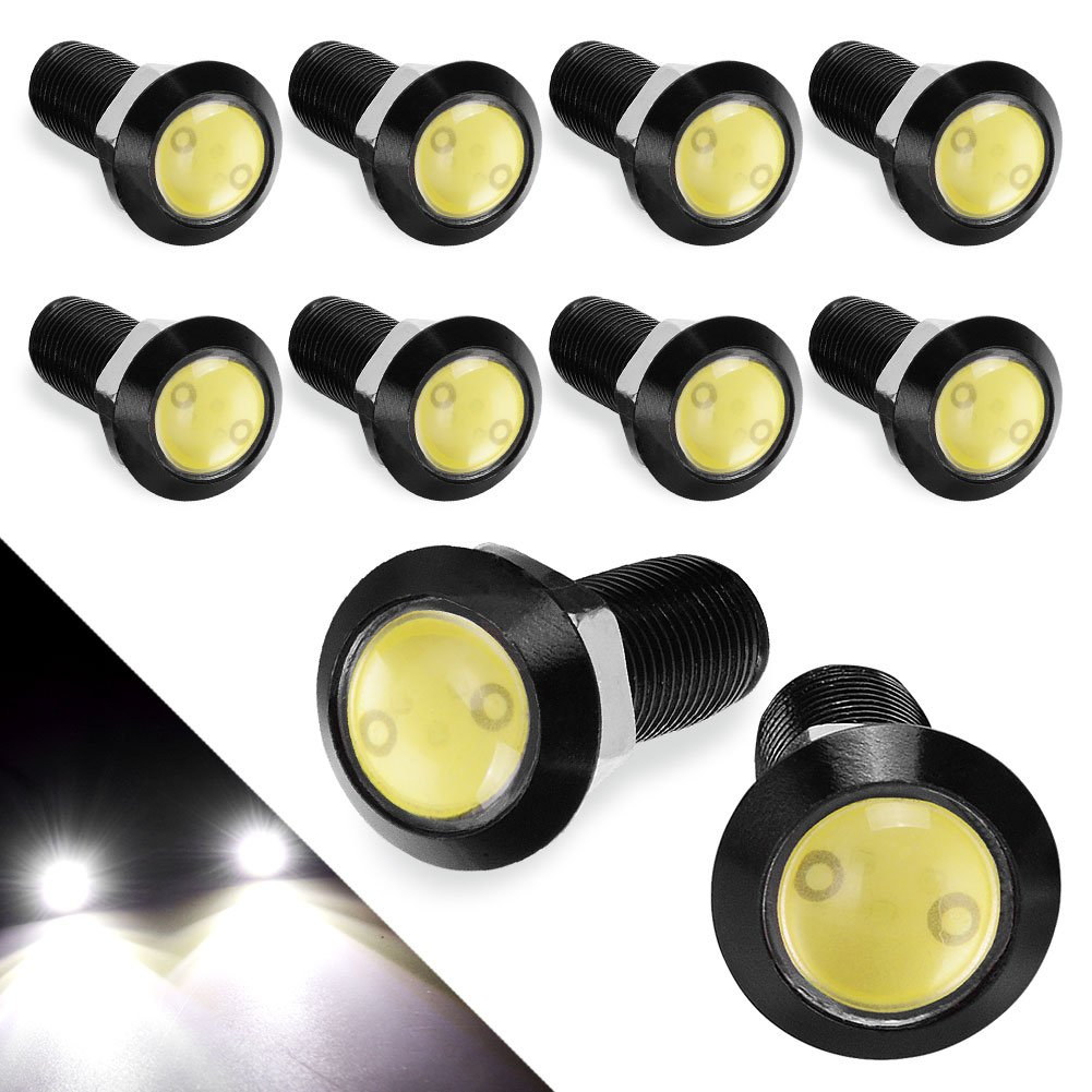 YITAMOTOR Eagle Eye LED 18mm Ultra Thin Silver Shell Eagle Eye LED Bulbs Daytime Running Lights Bolt on Fog Lights for Car Motorcycle Bicycle PS1W101Y10-FBA