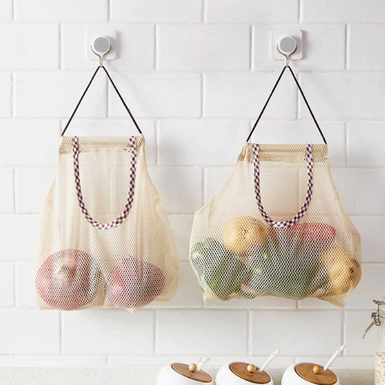 CareUToo sacchetti in rete per frutta e verdure con ganci per patate cipolle pepe verde frutta aglio taglia 2/ /Confezione da 4
