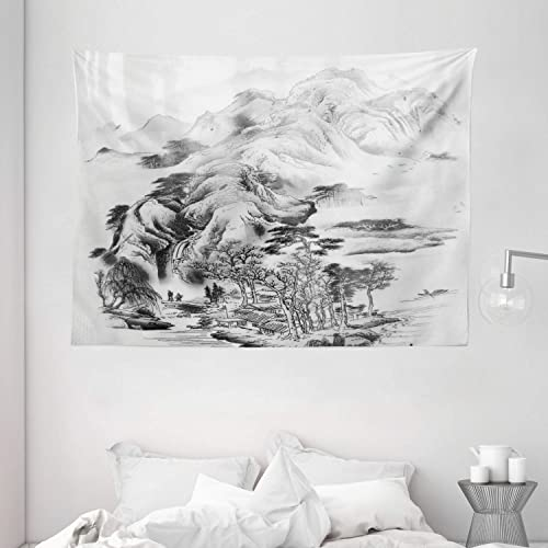 Ambesonne Asian Tapestry, Chinese Painting Style Mountain Range View Trees Majestic Nature Sketchy Illustration, Wide Wall Hanging for Bedroom Living Room Dorm, 80 X 60 , Black Grey