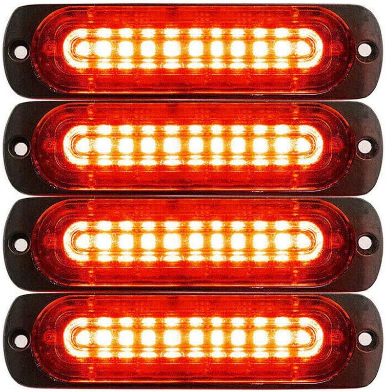 DIBMS 4x Ultra Slim 12-24V 10 LED Side Strobe Warning Hazard Flashing Emergency Caution Construction Light Bar for Car Off road vehicle ATVs truck engineering vehicles Red Blue