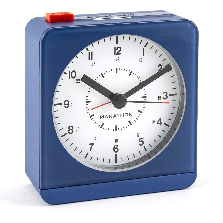 Auto Back Light and Snooze Function No Ticking Color-Black Case//Black Dial Marathon CL030065BK-BK2 Mini Travel Alarm Clock