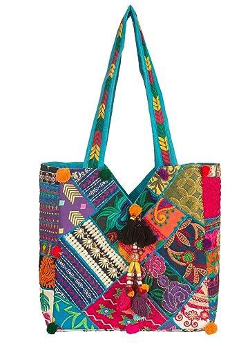 8bfa5c80a28 Unique Women Boho Blue Colorful Tote Shoulder Bag Tassel Handbag Top Handle  Beach Travel Bohemian Hippie