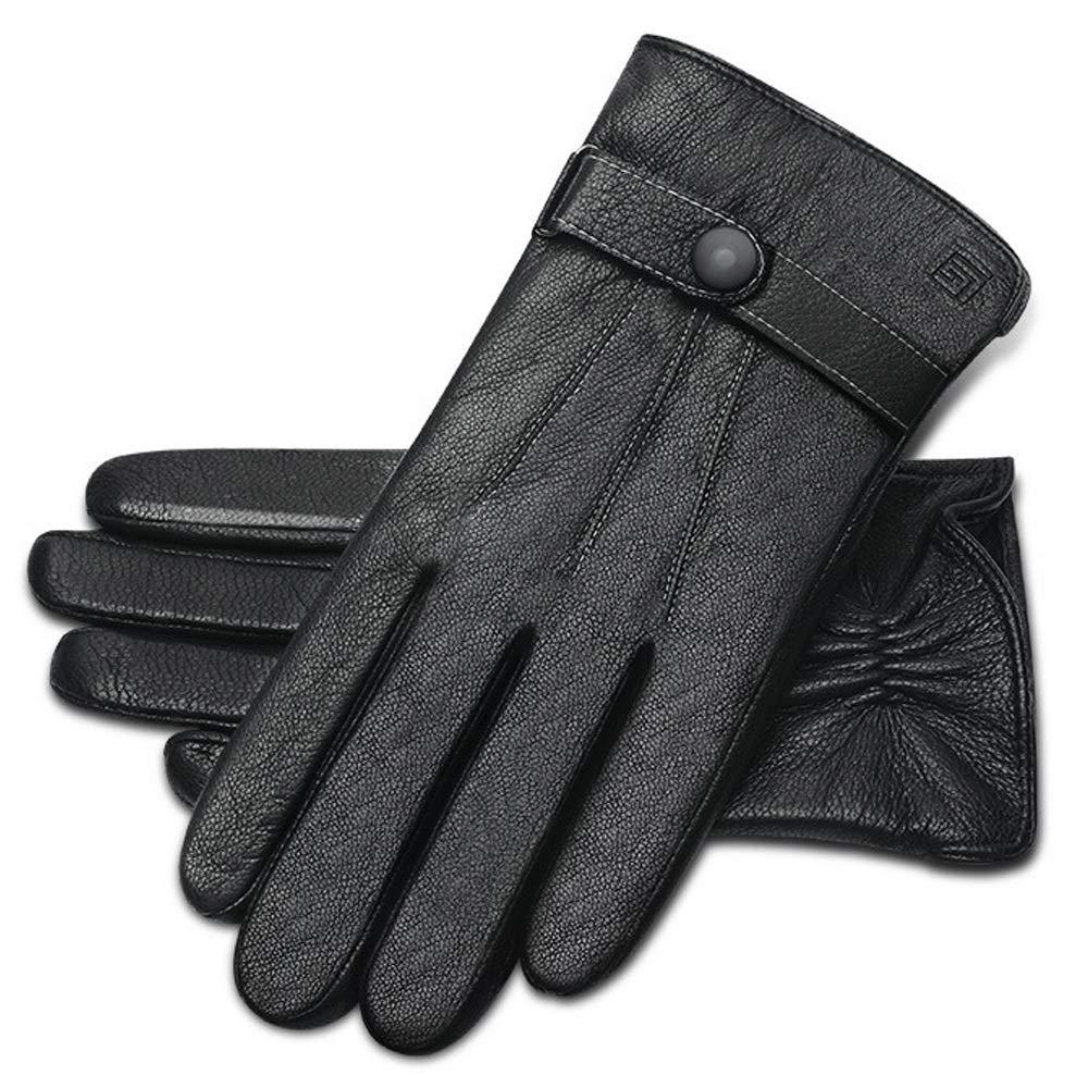 LBYMYB Leder Herren Herbst Und Winter Outdoor Reiten Touch Screen Schaffellhandschuhe Plus Samt Warm Und Winddicht Treibende Lederhandschuhe, Schwarz Handschuh (größe   L)
