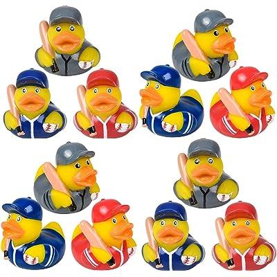 HAPPY DEALS ~ 12 Baseball Rubber Ducks with Baseball Bats | Baseball Party Favors | 2 inch: Toys & Games