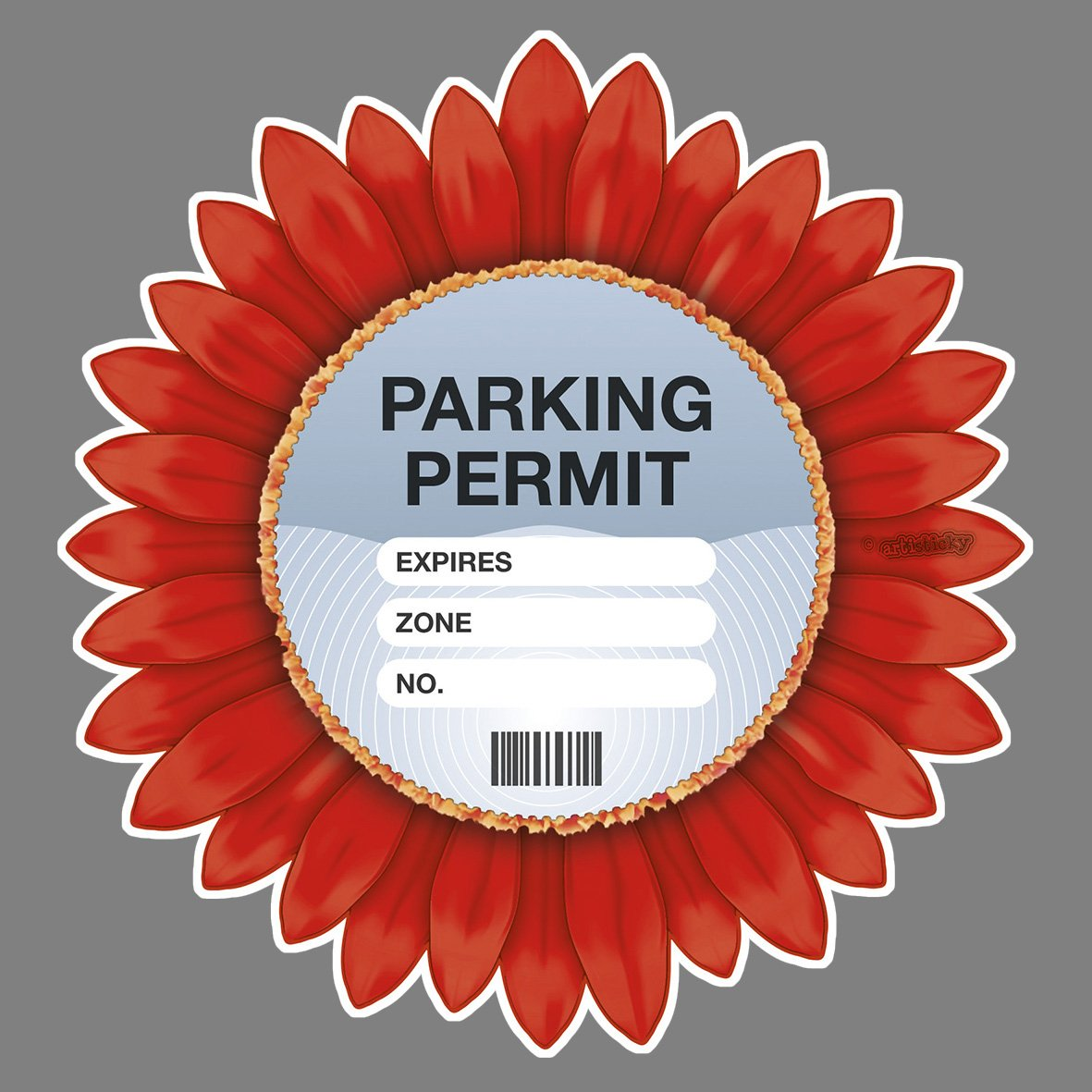 Parking Permit Holder Skin RED Flower Gerbera - Free Postage Artisticky AS-0058