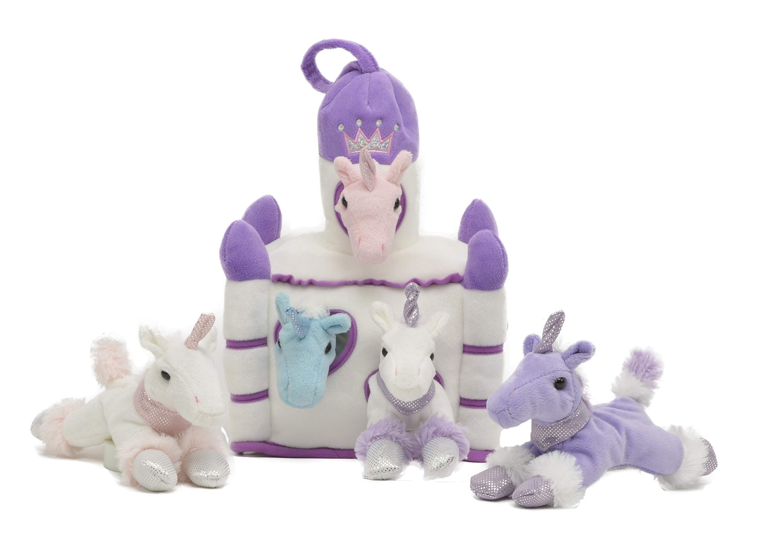 Unipak 12'' Plush Castle - 5 Stuffed Animals in a Castle Carrying Case (Unicorns Purple Castle) by Unipak