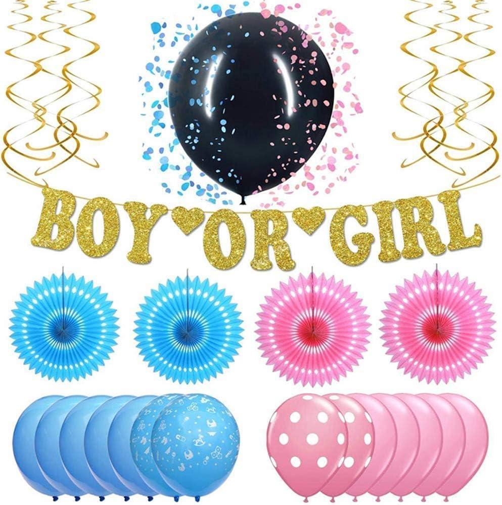 Nfudishpu Gender Reveal Party Decoration Supplies Baby Shower Embarazo Kit de Anuncio de Sexo Paquete Boy o Girl Banner Pink Blue & Black Confetti Balloon