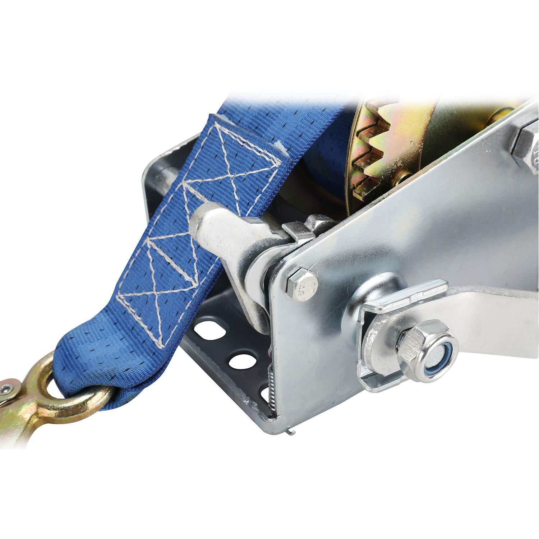 Cabestrante manual de FreeTec con cuerda de poli/éster azul cabrestante de rescate cabrestante de barco cabrestante manual 8 m, 1000 lbs